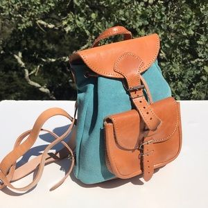 Handbags - Small Leather and Blue Suede Backpack Bag